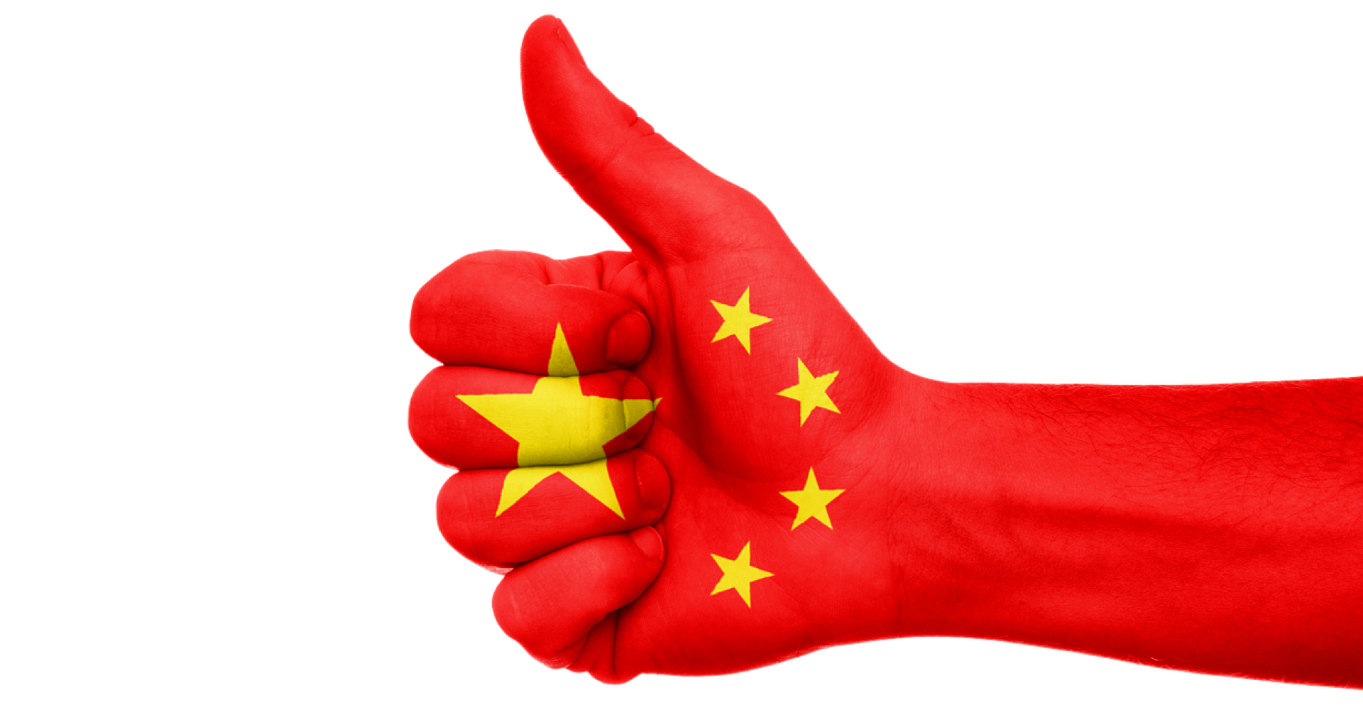 China flag thumbs-uo hand gesture